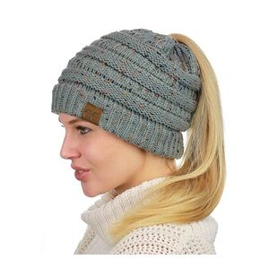 Soft Stretch Cable Knit Messy High Bun Beanie Hat